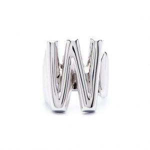 lettera w argento